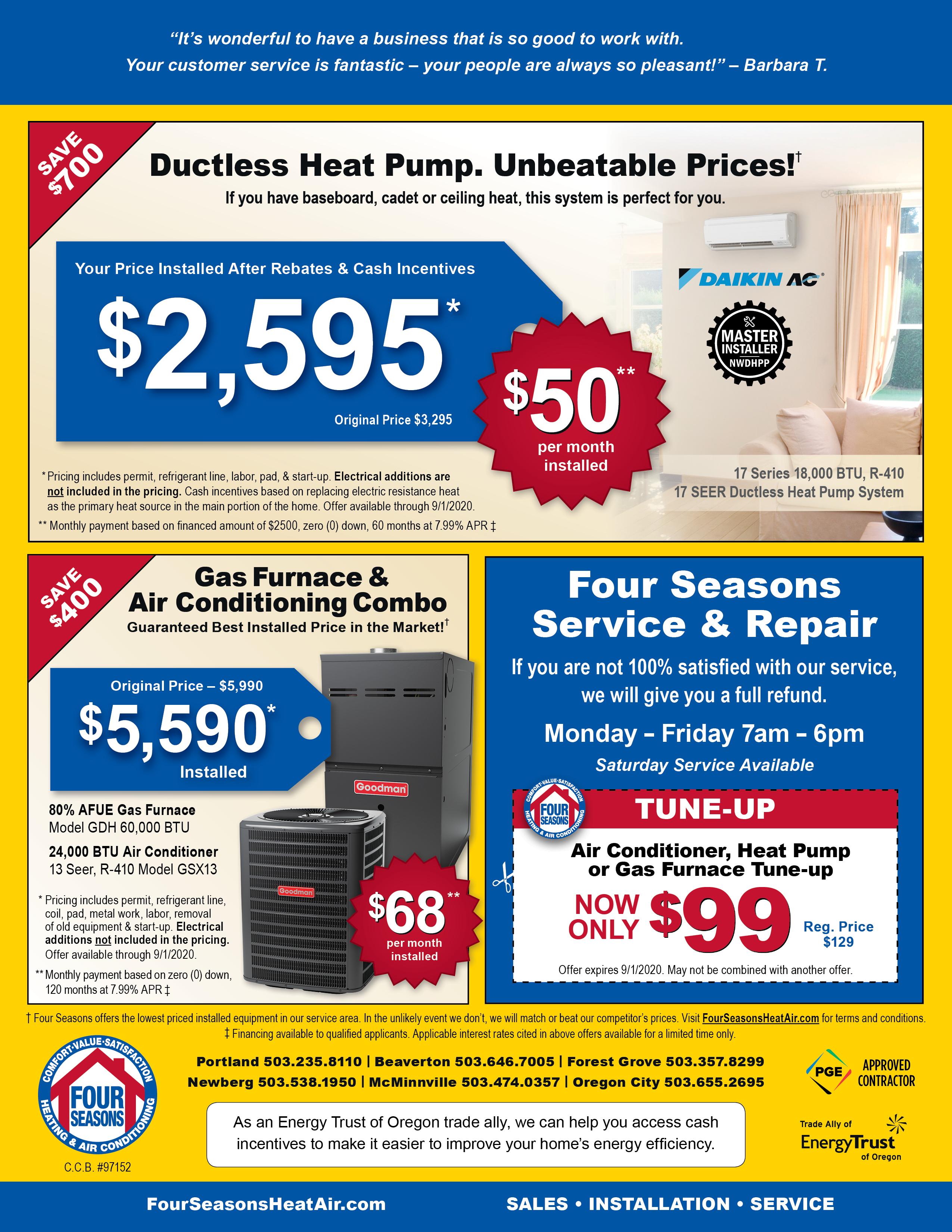 Ac Heating Coupons Hvac Specials Four Seasons