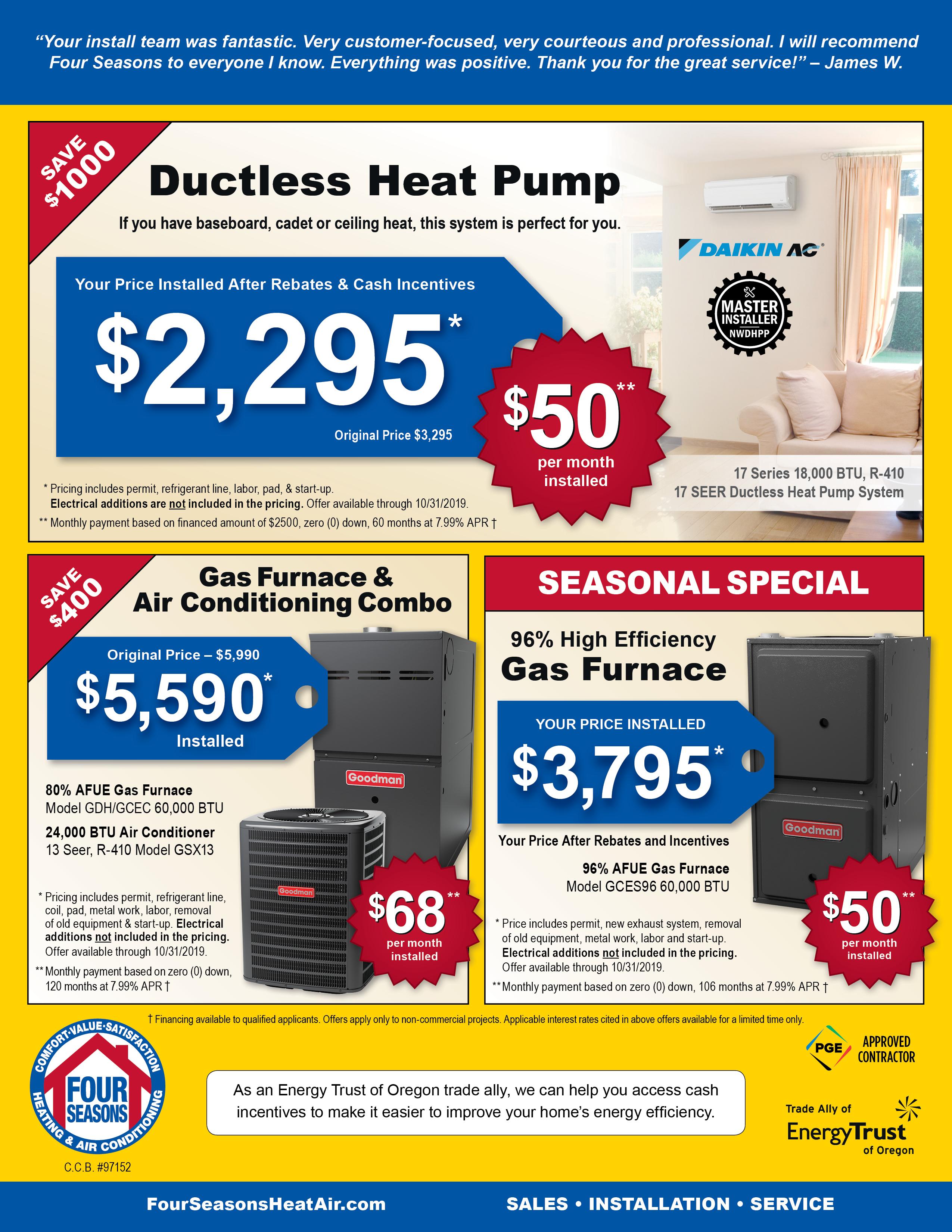 Four Seasons Heating & Air Conditioning Seasonal Specials