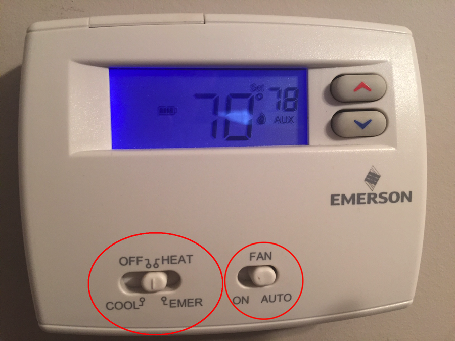 Thermostat FAN and HEAT settings depicted